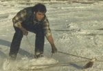 The days before real snowboards...
