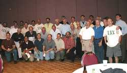 Another group shot of four decades of Tau Lambda Chi brotherhood...